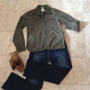 Army Green Liz Claiborne blouse